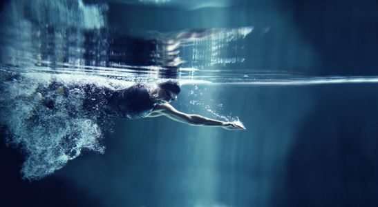 Professional swimmer crawl underwater